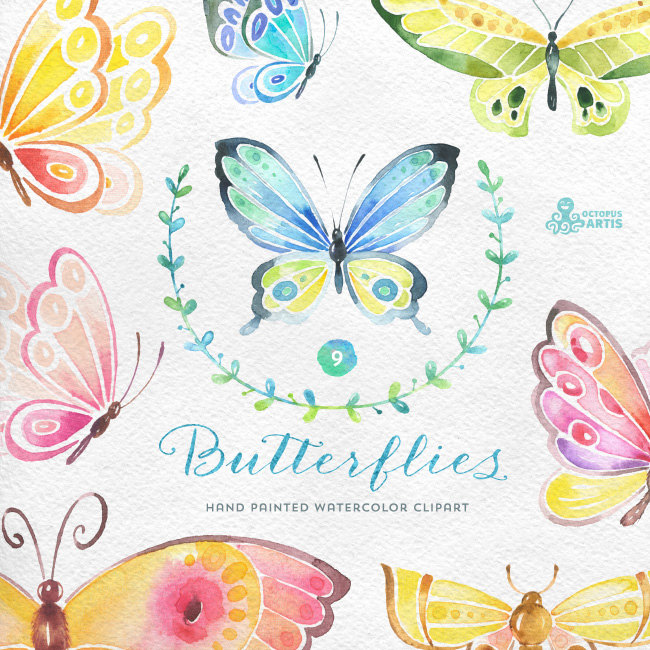 Butterflies Watercolor: 9 Separate hand painted clipart diy.