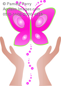 Clip Art Image of Hands Setting a Butterfly Free.