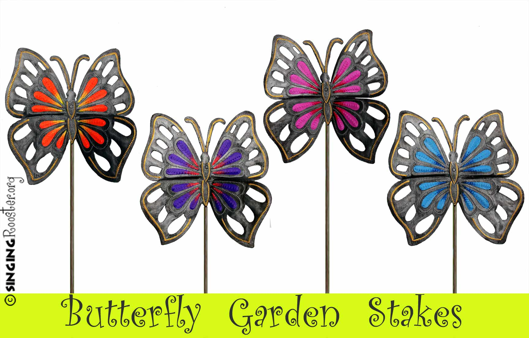 Buy Butterfly Garden Stakes Online, handmad, hand painted in Haiti.