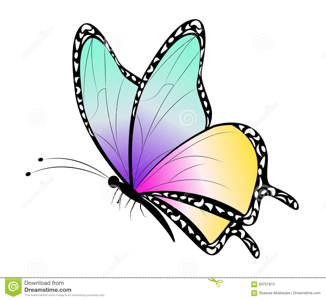Cute Butterflies Flying Clipart.