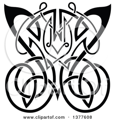Clipart of a Black and White Celtic Knot Butterfly.