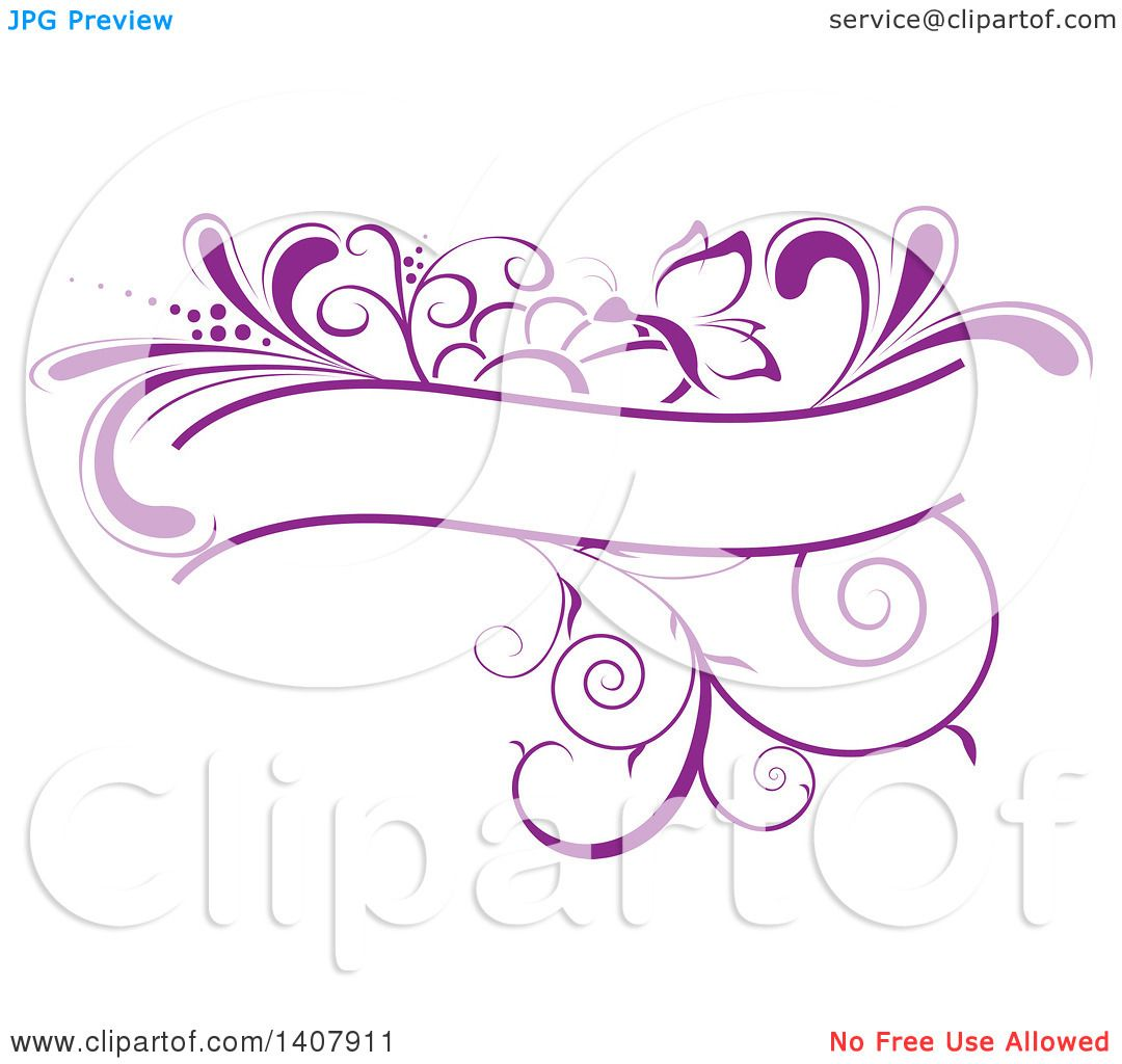 Clipart of a Purple Swirl Plant and Butterfly Label Frame Design.