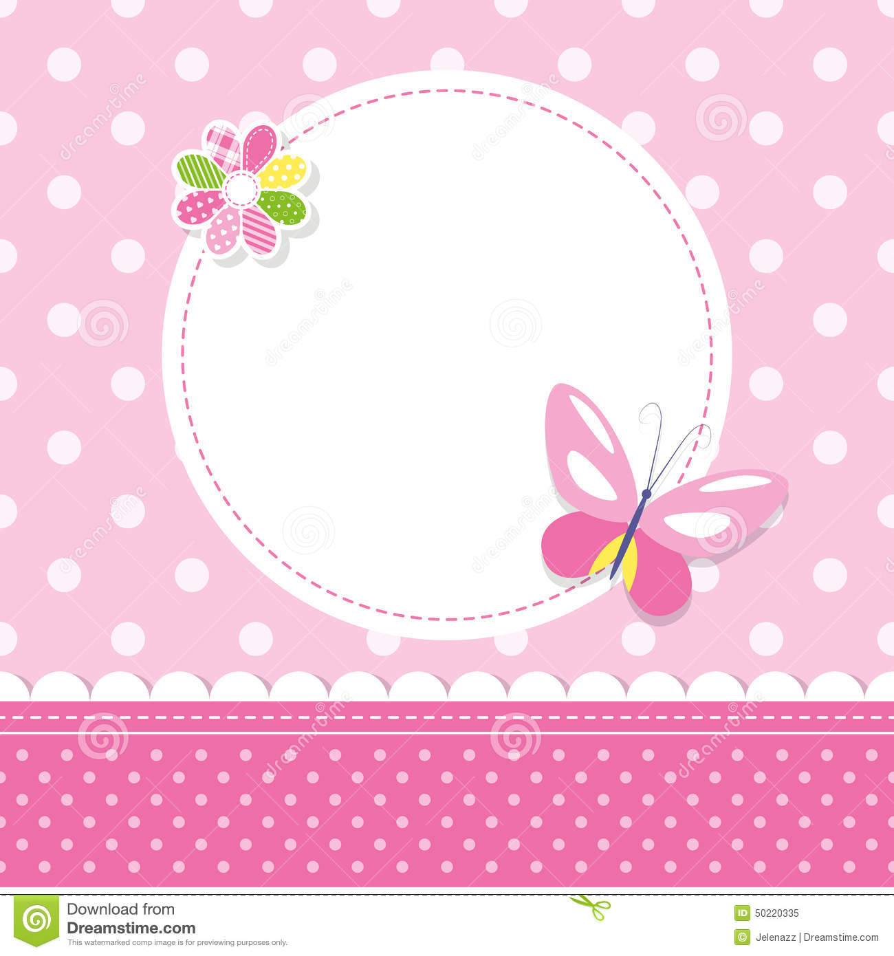 Pink Butterfly Baby Girl Greeting Card Stock Vector.