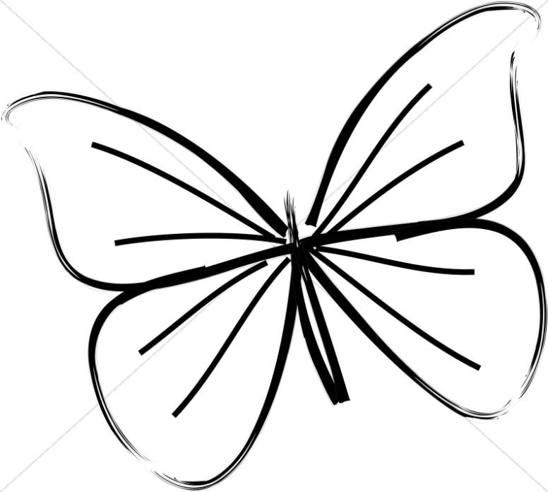 Single Butterfly Line Art.