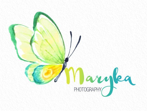 BOHO butterfly Photography full name hand drawn font Logo.