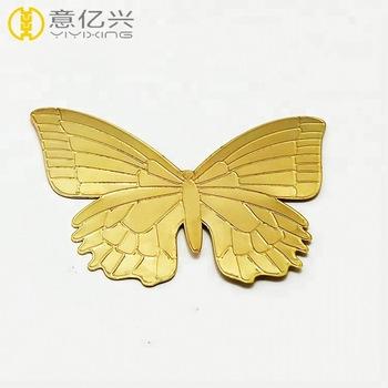 Butterfly Design Name Plate Charm Brand Logo Embossed Custom Metal Sticker.