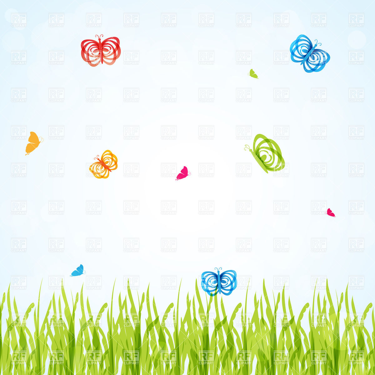 Butterfly meadow clipart.
