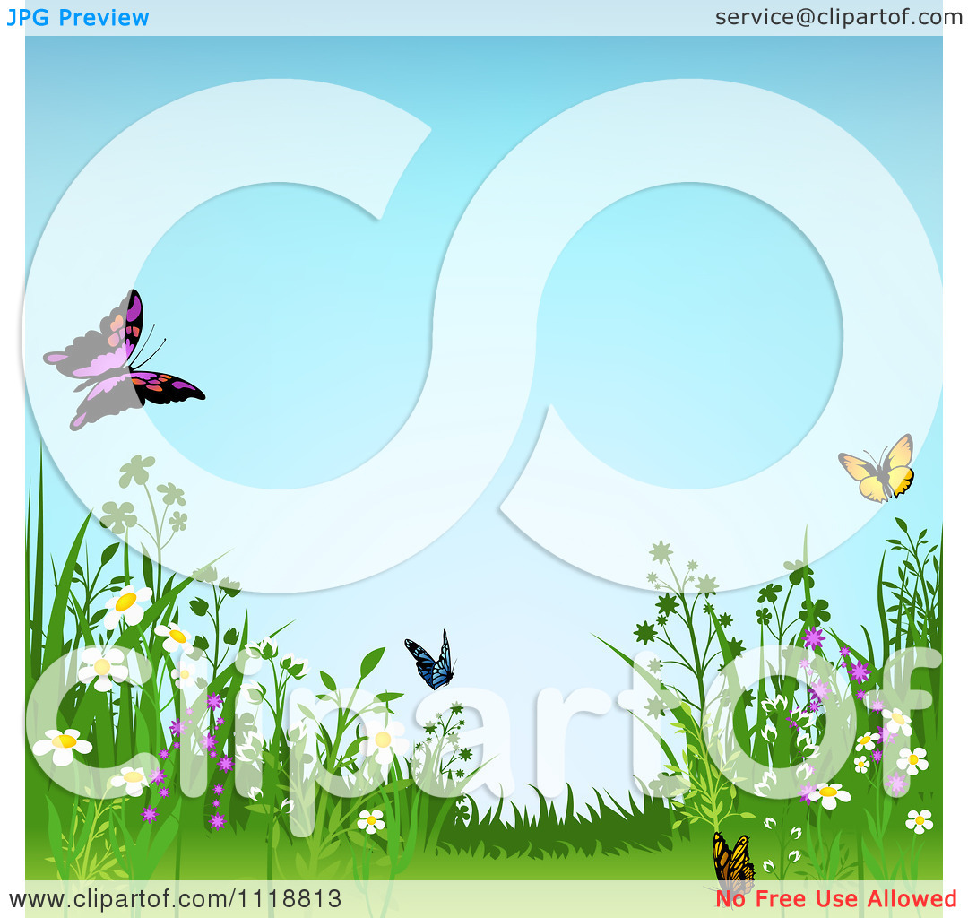 Clipart Of A Background Of Wild Meadow Flowers And Butterflies.