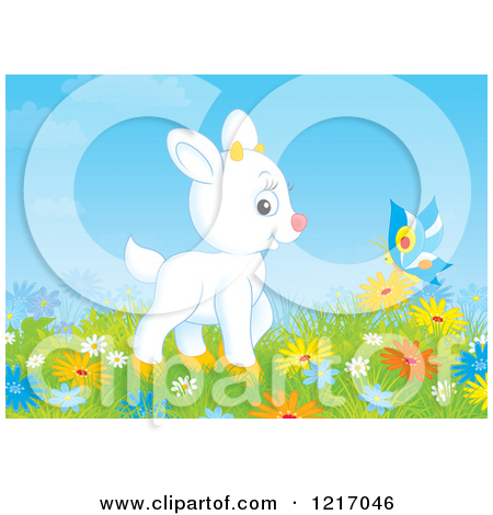 Clipart of a Cute White Goat and Butterfly in a Meadow with.