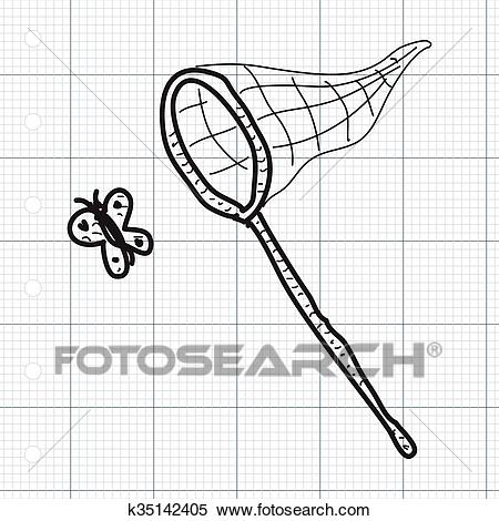 Simple doodle of a butterfly net Clipart.