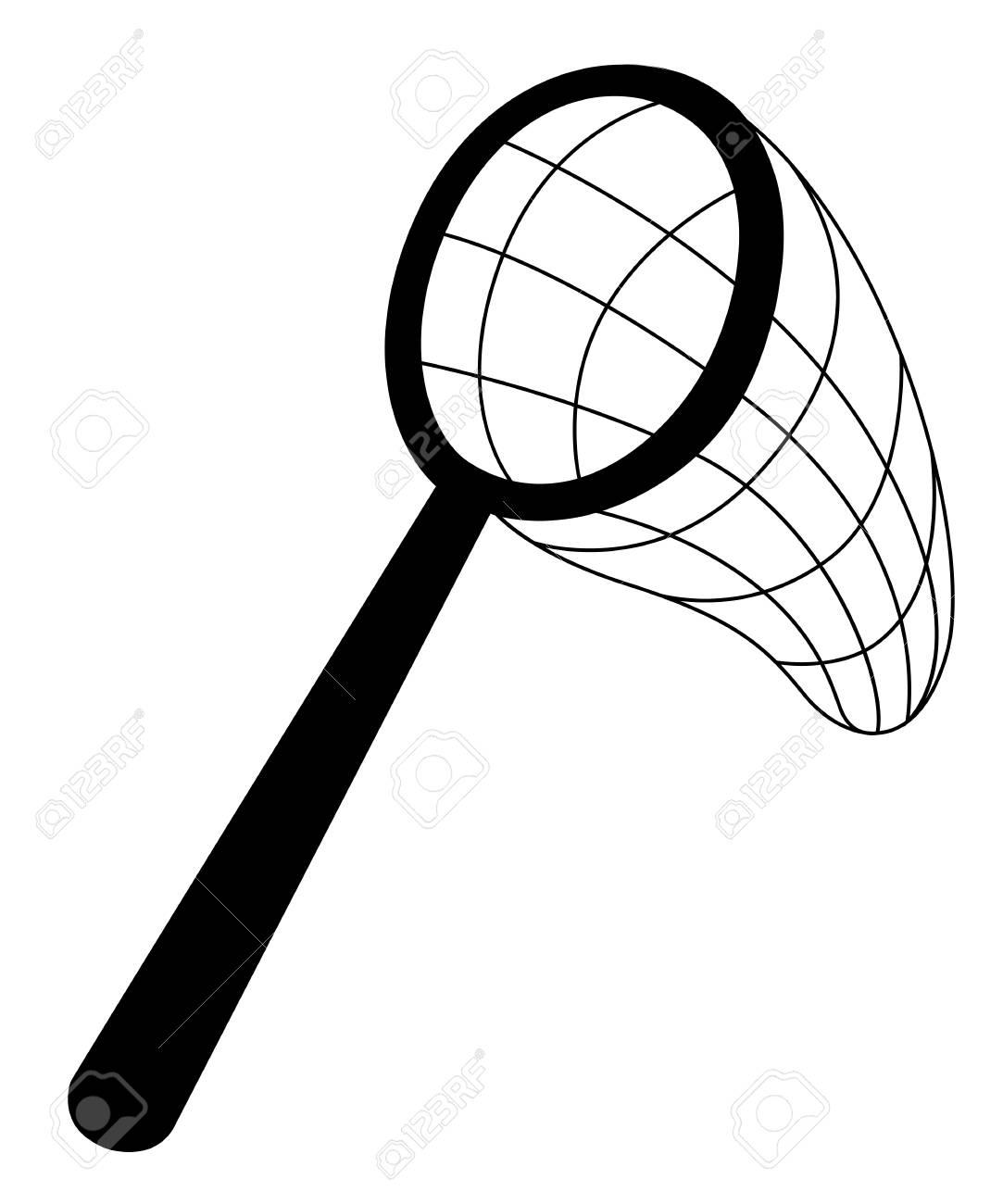 Black silhouette. Butterfly net. Classic net design, wooden handle.
