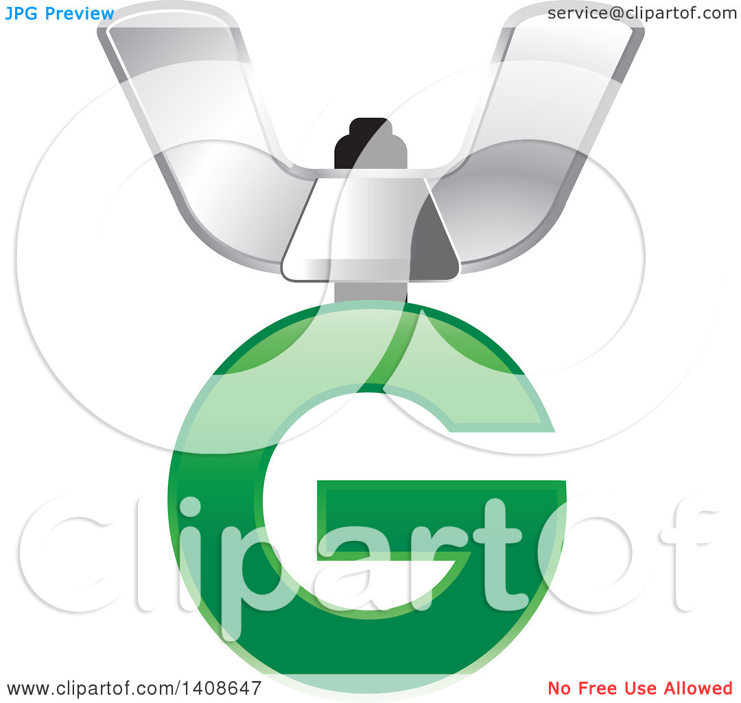 Clipart of a Butterfly Nut and Letter G.