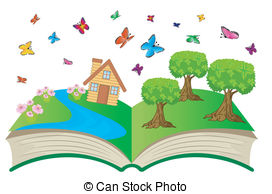 Open Book With Butterflies Clipart.