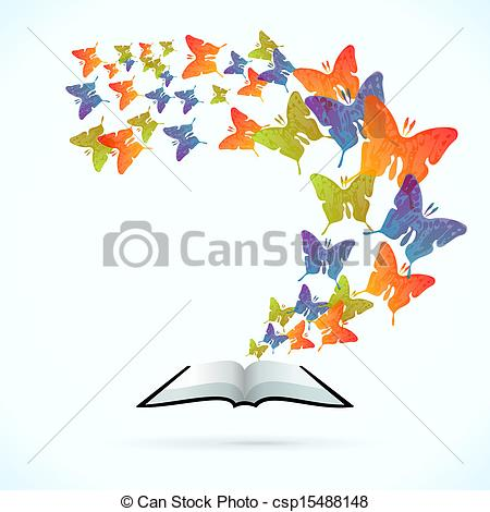 EPS Vector of Butterfly Book.