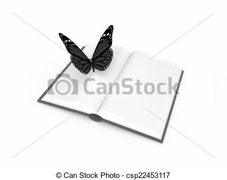 Clipart of butterfly on a book on a white background csp22453117.