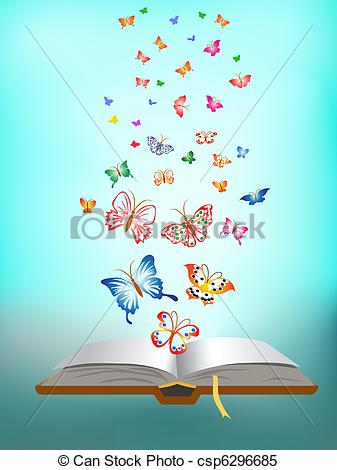 Clipart Vector of butterfly flying around the book csp6296685.