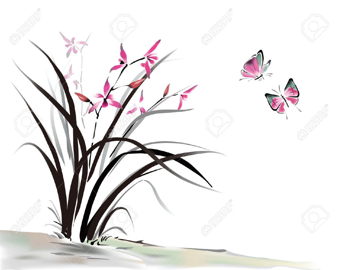 Chinese Orchid And Butterfly Ink Style Royalty Free Cliparts.