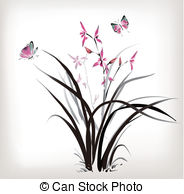 Clipart of Orchid and butterfly.