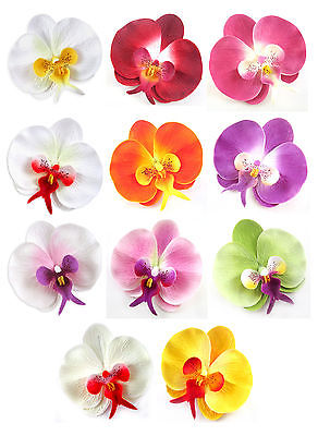 """8pcs) 2"""" Silk Butterfly Orchid Heads."""
