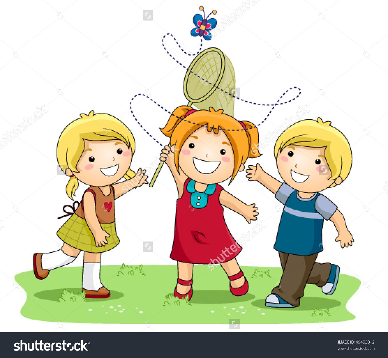 Children Catching Butterflies Park Vector Stock Vector 49453012.