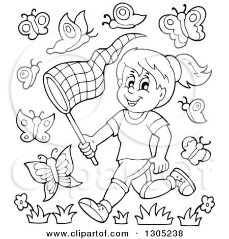 Clipart of a Cartoon Happy Brunette White Girl Chasing Butterflies.