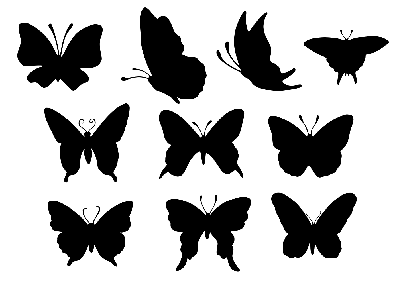 10 Butterfly Silhouette (PNG Transparent).