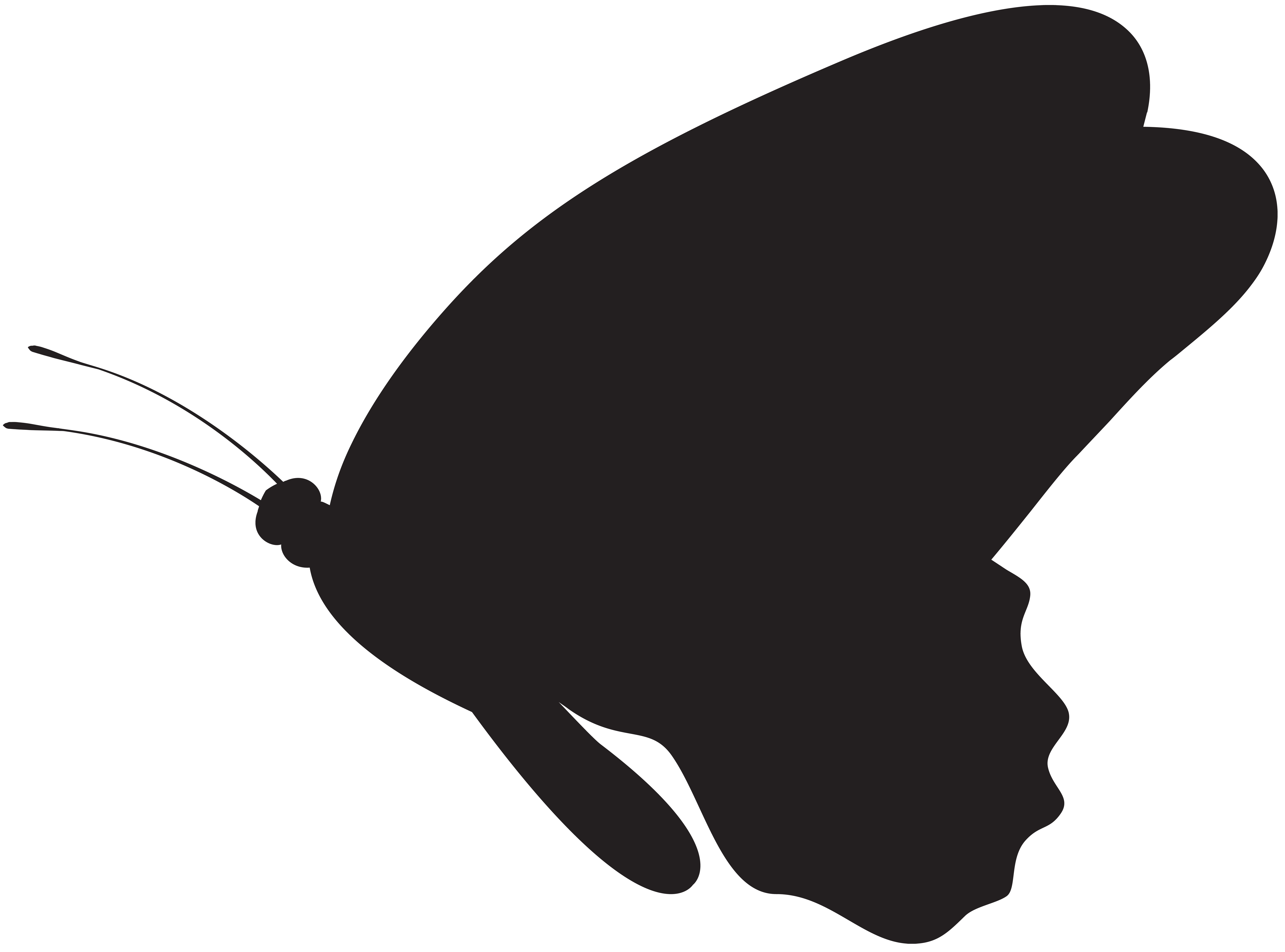 Butterfly Silhouette PNG Clip Art Image.
