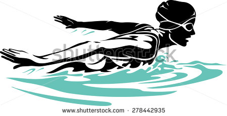 Swimmer Silhouette Stock Images, Royalty.