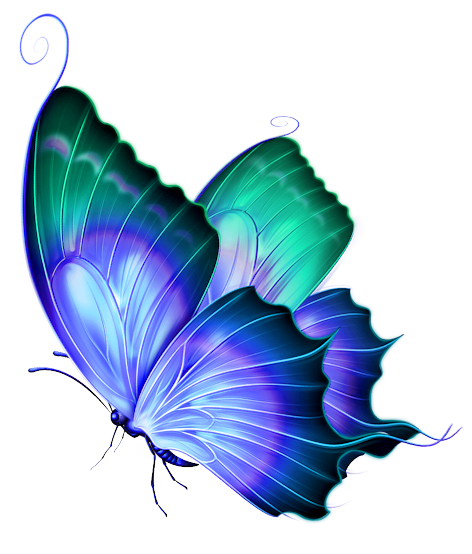 Transparent Blue and Green Deco Butterfly PNG Clipart.