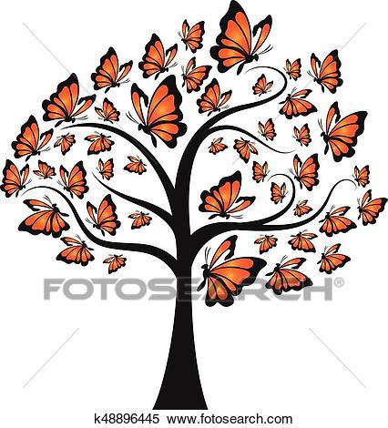 Monarch butterfly tree Clipart.