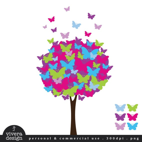 Butterfly Tree Digital Clip Art.