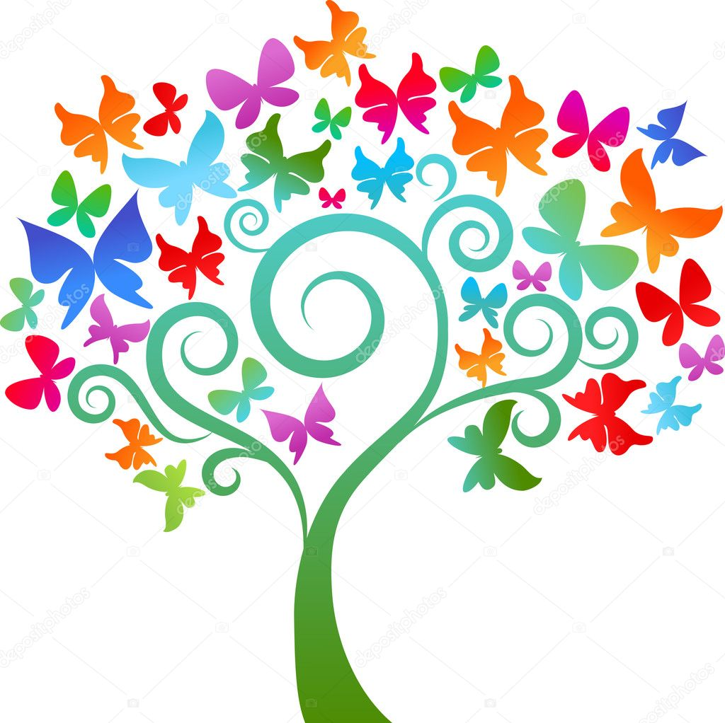Colourful butterfly tree — Stock Vector © marish #2880382.