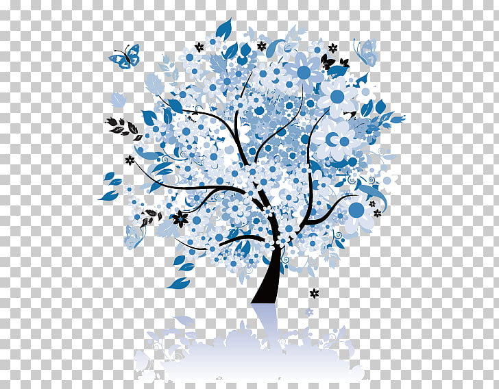 Butterfly tree , white, blue, and black tree illustration.