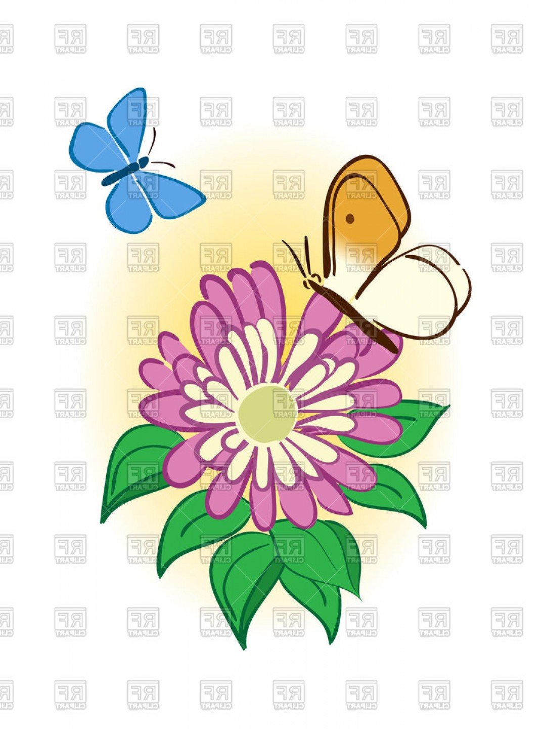 Cute Pink Flower With Butterflies Vector Clipart.