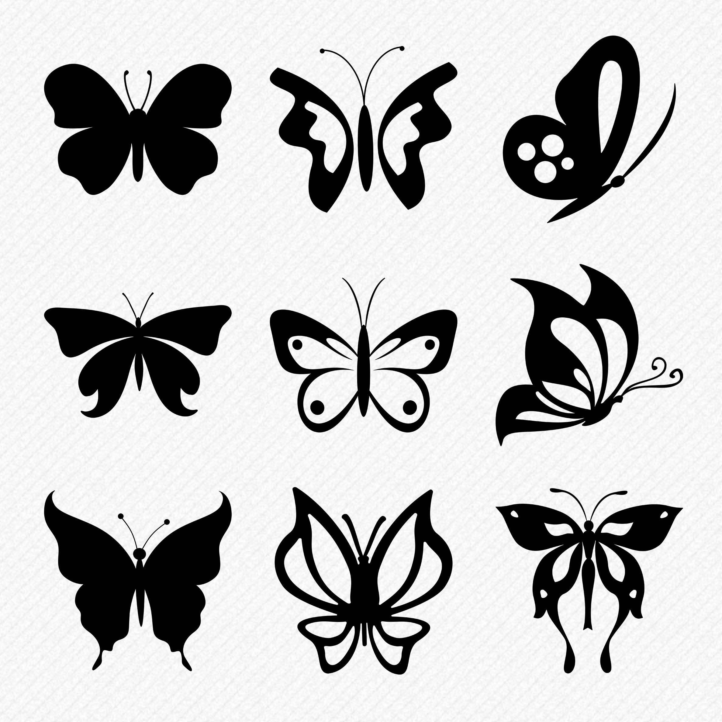 Butterfly SVG set, 9 beautiful butterflies cutting files for wall.