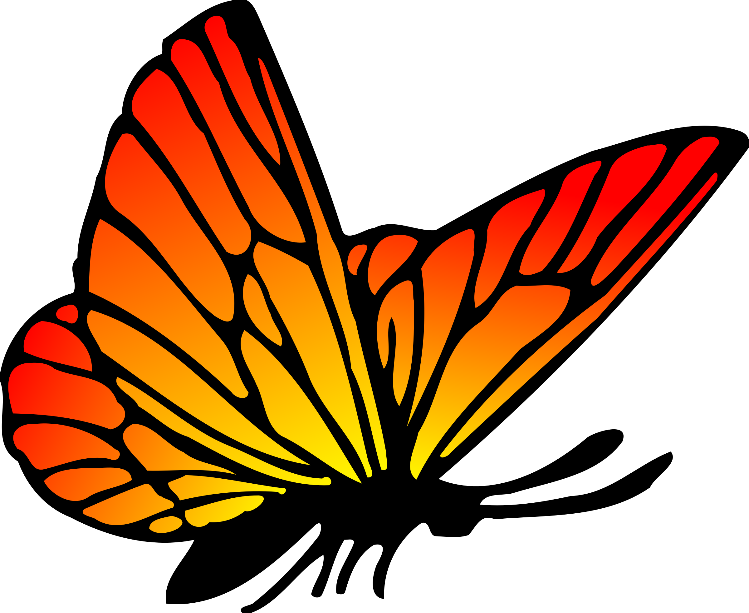Red Orange Butterfly vector clipart image.