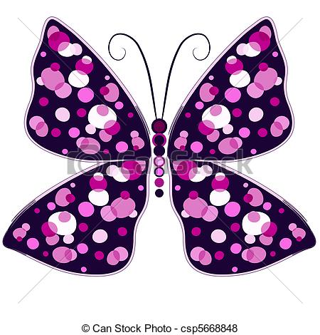 Vector of Dark violet butterfly.
