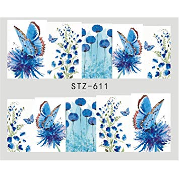 Amazon.com: 1pcs Water Decals Nail Sticker Spring Flowers Butterfly.