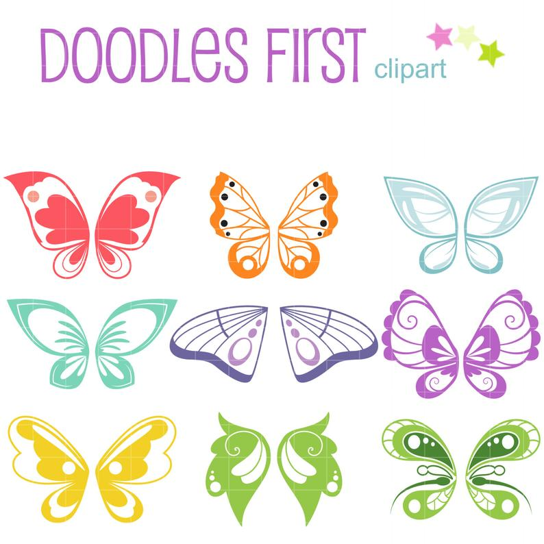Butterfly Wings Clip Art for Scrapbooking Card Making Cupcake Toppers Paper  Crafts.