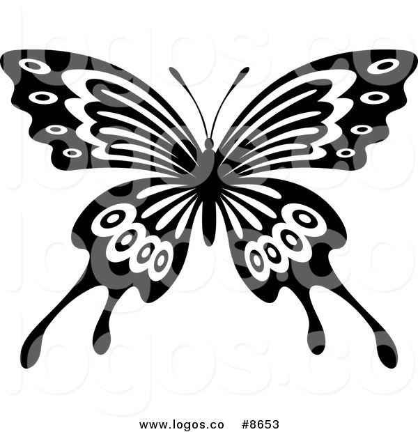 Butterfly Wings Black And White Clipart.