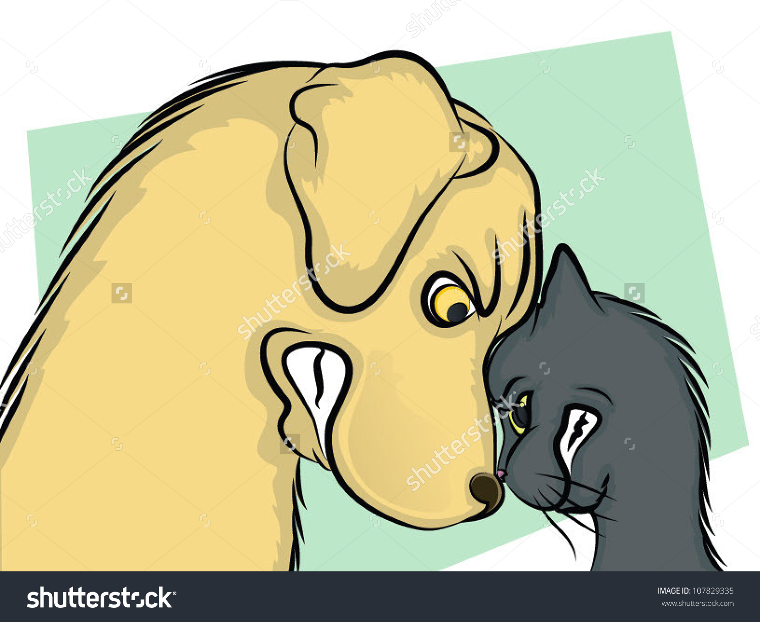 Dog Cat Nose Nosebutting Heads Stock Vector 107829335.
