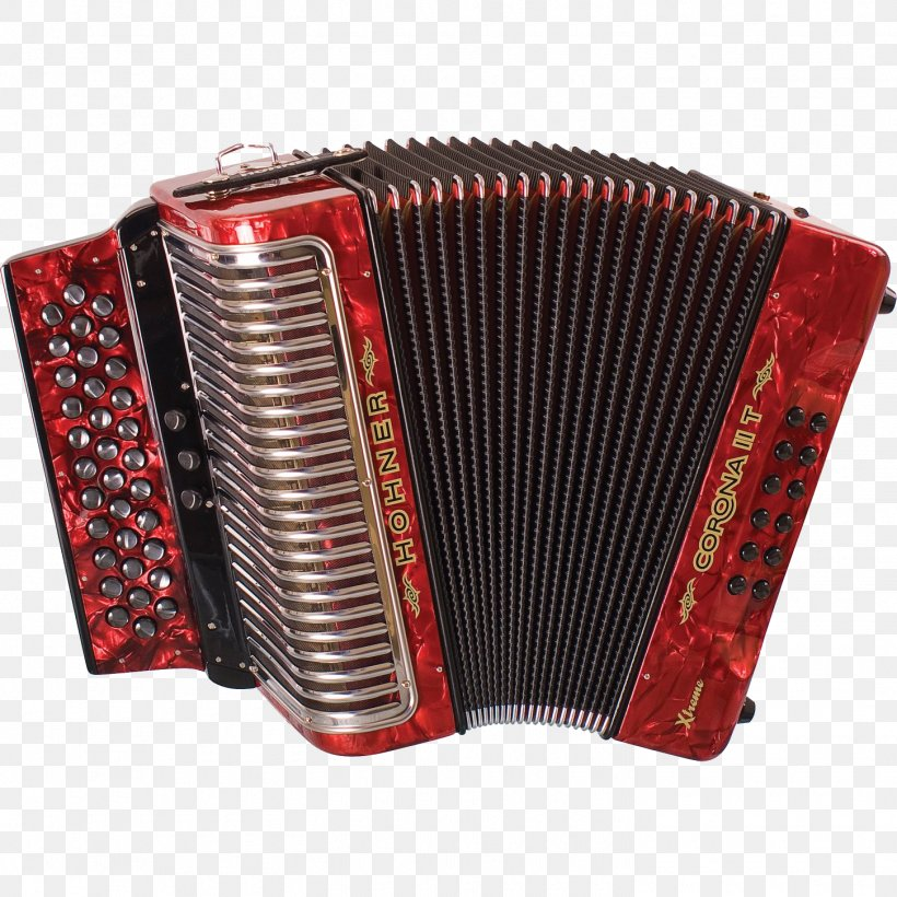 Hohner Diatonic Button Accordion Musical Instrument, PNG.