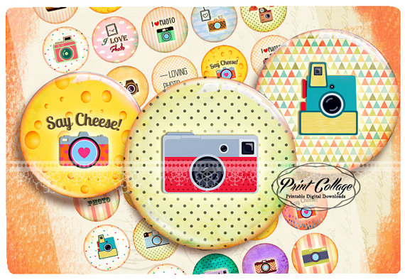Buttons Pinback Digital Printable Images for Button machine.