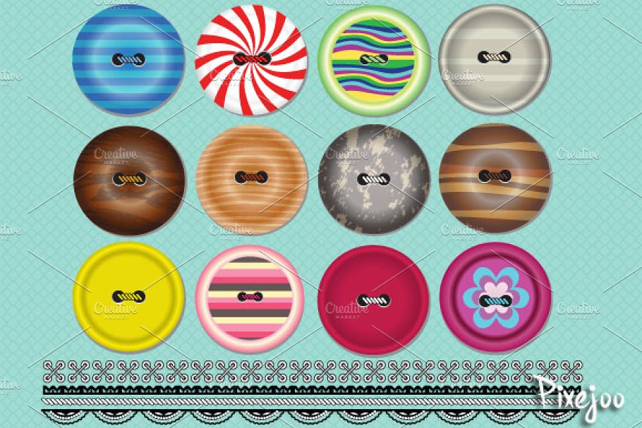 Clipart Buttons and Trim Pattern ~ Graphic Objects.