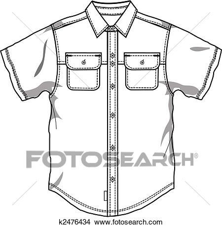 Men button down shirt Clipart.