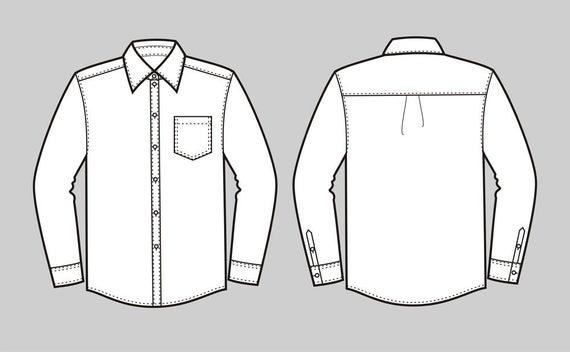 Button down shirt vector fashion flat sketch,Adobe Illustrator  design,technical outline,flat drawing, digital clip art (eps,ai,jpg,png  file).