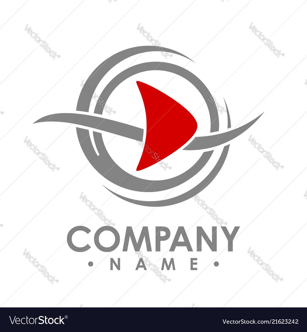 Creative abstract media play button logo design.