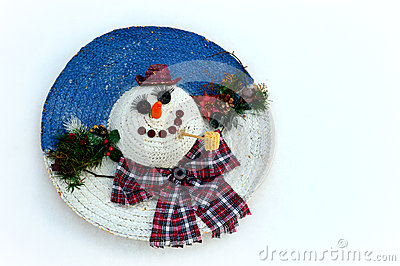 Snowman Made By Tire Car. Stock Photo.