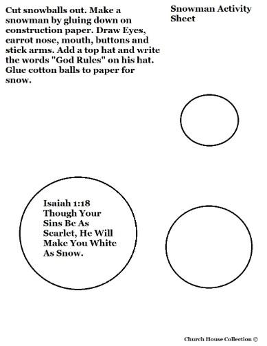 Snowman Cutout Sheet Isaiah 1:18.