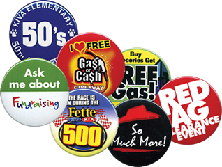 PROMOTIONAL BUTTONS :: custom printed promotional buttons.